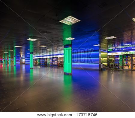 Zurich, Switzerland - 9 October, 2016: ShopVille passage of the Zurich main railway station in early morning. ShopVille is an underground passage housing numerous stores, offering attractive shopping possibilities 365 days a year.