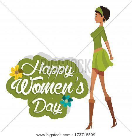 happy womens day cute girl green dress vector illustration eps 10