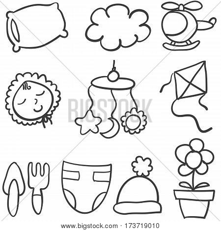 Doodle of baby theme stock vector art