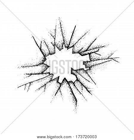 Dotwork Broken Glass. Vector Illustration with Crash. Tattoo Hand Drawn Sketch.