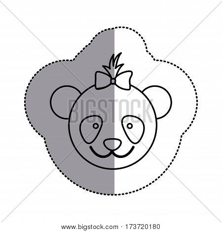 contour face bear bow head icon, vector illustration design image