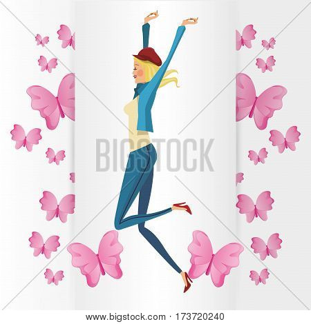 funny girl blonde with pink butterfly vector illlustration eps 10
