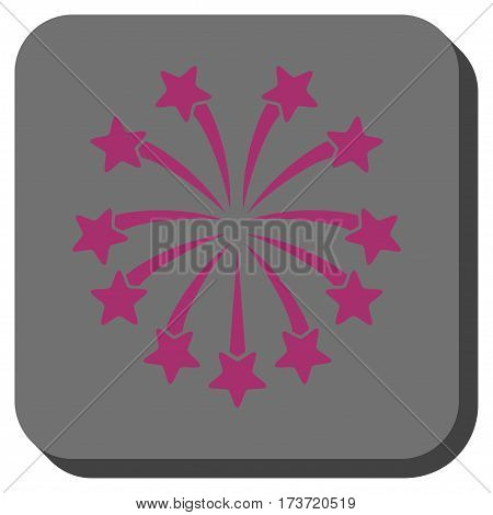 Spherical Fireworks toolbar icon. Vector pictogram style is a flat symbol on a rounded square button, purple and gray colors.