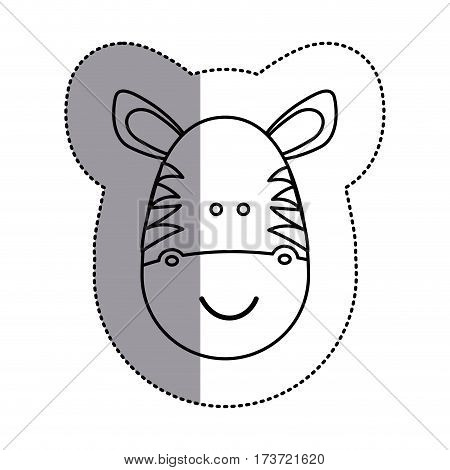 contour face zebra icon, vector illustration design image