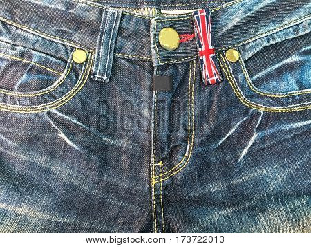 Close up jean zipper and pocket background .