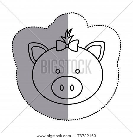 contour face pig ribbon bow head icon, vector illustration design