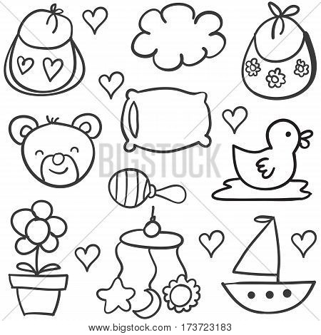 Vector art of baby theme doodles collection stock