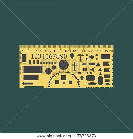 Equipment for drawing geometric ruler for draw an special tactical map. Combat mission plotter. Old straightedge with stencils isolated on white background. Vector illustration.