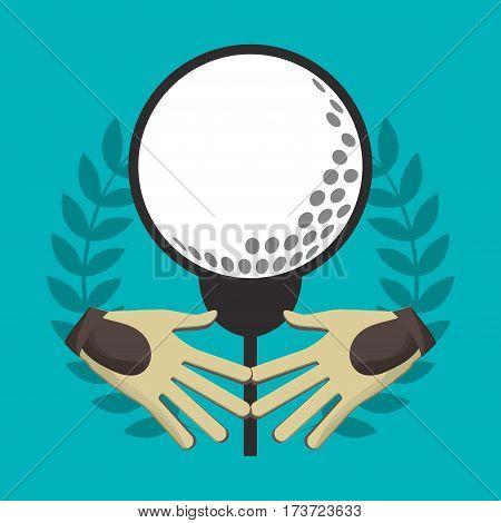 golf gloves ball on tee label vector illustration eps 10
