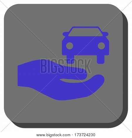 Car Gift Hand interface icon. Vector pictograph style is a flat symbol in a rounded square button, violet and gray colors.