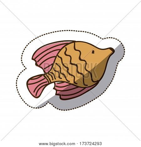 brown fish icon stock, vector illustration design image