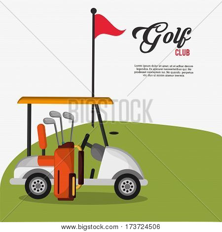 golf club car bag and clubs flag vector illustration eps 10