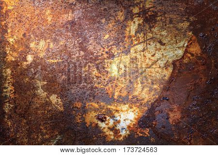 Rusty metal texture or rusty metal background. Grunge retro vintage of rusty metal plate for design with copy space for text or image. Dark edged.