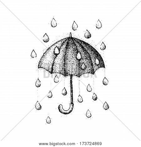 Dotwork Umbrella Rain. Vector Illustration of Parasol with Drops. Hipster Tattoo Hand Drawn Sketch.