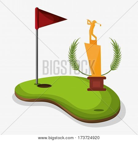 trophy golf player field flag hole one vector illustration eps 10