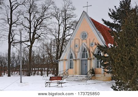 Ancient small chapel in the village Svyatsk, Grodno region, Belarus in winter.