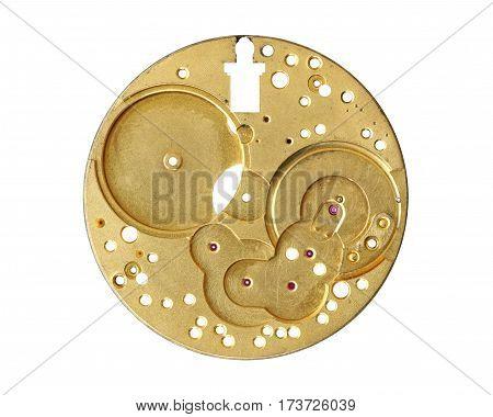 Part of clockwork mechanism isolated on white background