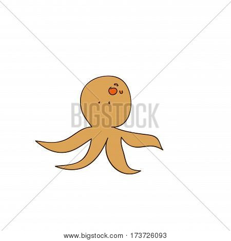 brown octopus icon stock, vector illustration design image
