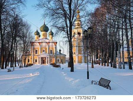The path to the Transfiguration Cathedral of the Uglich Kremlin in winter, Russia