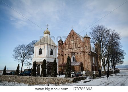Synkovichi BELARUS - February 26 2017. Church of St. Michael in Synkovichi Gothic style Orthodoxy the historic monument
