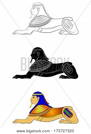 Illustration of the Sphinx - mythical creature of ancient Egypt