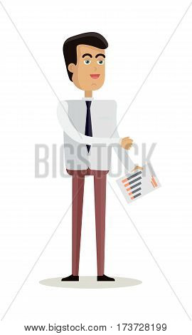 Businessman character vector. Cartoon in flat design. Smiling man in shirt and tie with statistic documents. Broker, office worker, financier, statistician, employee. Isolated on white background.