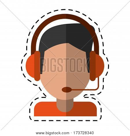 cartoon video gamer with headset vector illustration eps 10
