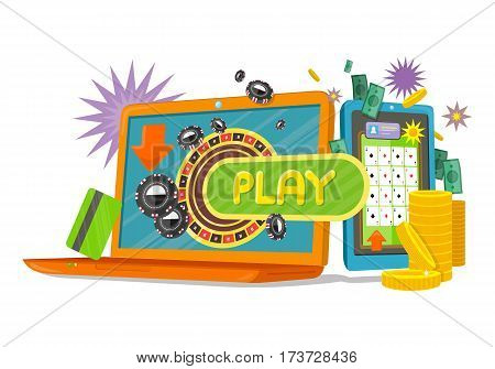Online games web banner with laptop and mobile phone. Money, coins, credit cards, stars, chips. Online play concept. Casino jackpot, luck game, chance and gamble, lucky fortune. Vector illustration