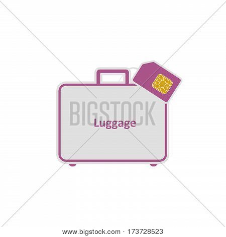Roaming. Luggage. SIM flat simple vector icon.