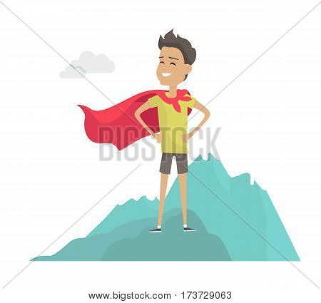 Smiling man in hero cape on mountain peak vector in flat style. Funny cartoon superhero illustration for business, success, dreaming, motivation concepts.  Isolated on white background.