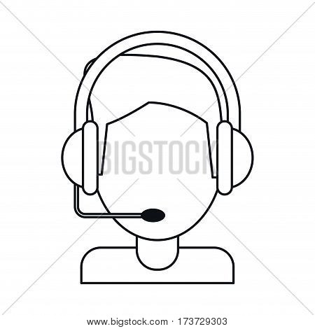 video gamer with headset thin line vector illustration eps 10