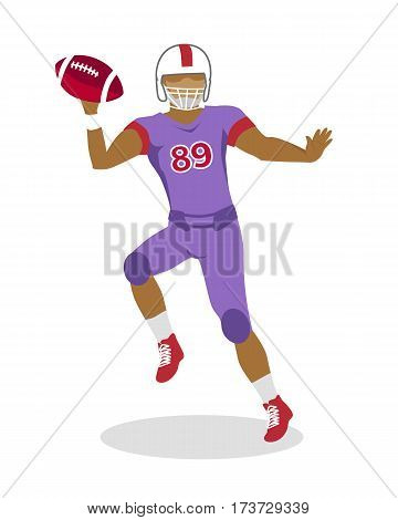 American football. Football player with ball in hands in equipment and helmet. Violet football uniform. Sport game. Cartoon icon of football player jumping with red ball. American football sign.