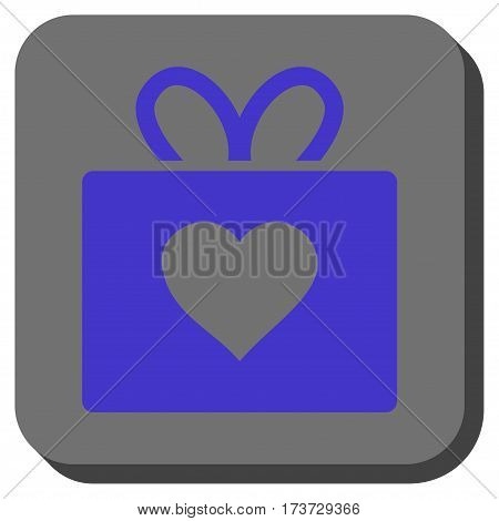 Love Gift rounded icon. Vector pictograph style is a flat symbol on a rounded square button, violet and gray colors.