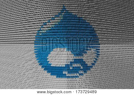 drupal in the form of binary code, 3D illustration