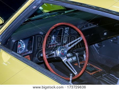 DETROIT MI/USA - February 25 2017: A 1969 Chevrolet Camaro car interior restoration on display at the Detroit Autorama, a showcase of custom and restored cars.