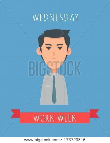 Work week emotive concept. Calm brunet man in shirt and tie flat vector illustration. Wednesday neutral mood. Office worker weekly calendar. Employee business efficiency. Everyday routine work