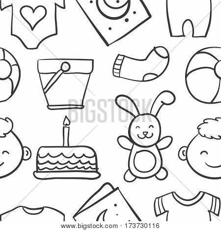 Collection stock of baby theme doodles vector art