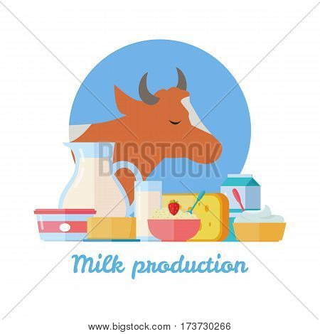 Traditional dairy products from cow s milk. Different dairy products on background of cow. Natural farm food concept. Assortment of dairy products. Vector illustration in flat style.
