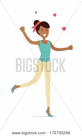 Woman standing on one leg with hearts isolated. Smiling lady with open arms shopping. Flat design. Brunet girl character in t-shirt and trousers. Pleasure of purchase. For sales and discounts. Vector