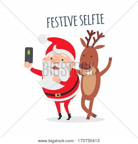 Festive Selfie. Santa makes festive selfie with reindeer. Cute photo with deer. Merry Christmas and happy New Year concept. Winter holiday illustration. Greeting card. Vector in flat style design