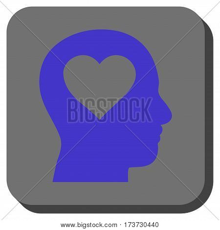 Love In Head square button. Vector pictogram style is a flat symbol on a rounded square button, violet and gray colors.
