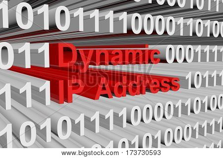 dynamic ip address as a binary code 3D illustration