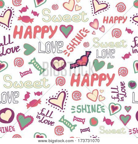 Seamless pattern doodle hearts love happy words repeat. Fall in love. Shine. Sweet. Candy. Vector available