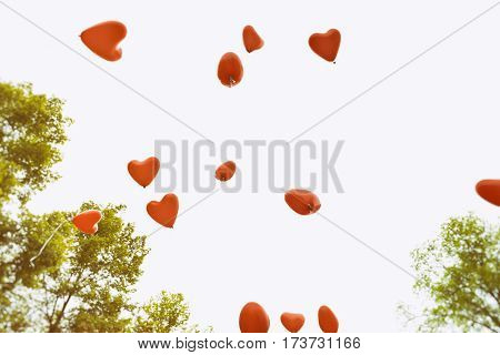 Heart shaped balloons over white background toned image