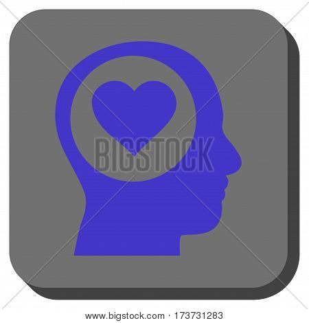 Love Thinking Head rounded button. Vector pictograph style is a flat symbol in a rounded square button, violet and gray colors.