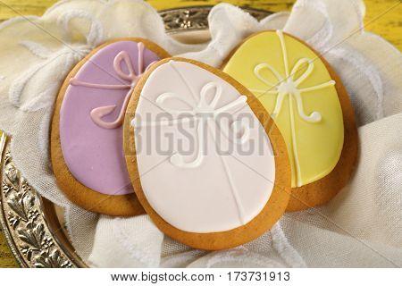 Easter sugar cookies, closeup