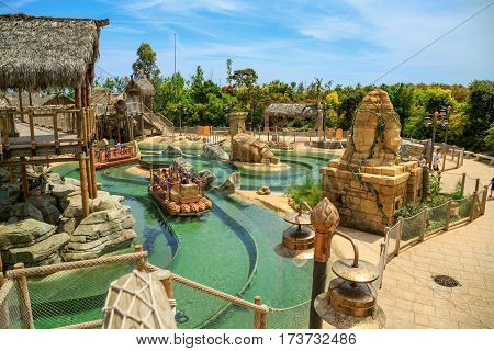 PORT AVENTURA/ SPAIN - MAY 11, 2015. Interactive water attraction Angkor, based on the Cambodian temple of Angkor Wat. Theme Park Port Aventura, Salou, Spain
