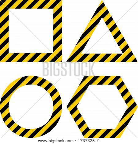 geometric shapes layout with warning yellow and black stripes, vector templates danger warning signs and dimensions