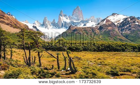 Beautiful Landscape With Mt Fitz Roy In Los Glaciares National Park, Patagonia, Argentina, South Ame