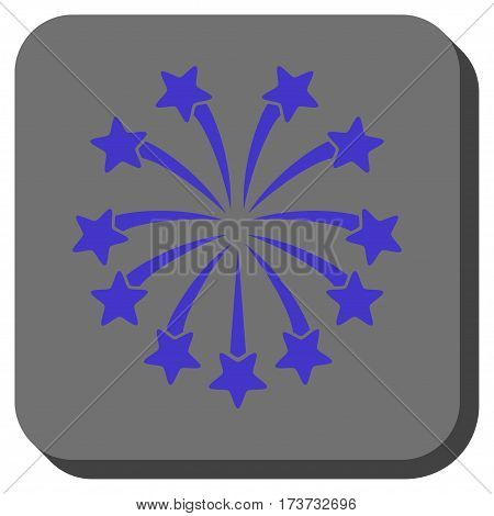 Spherical Fireworks interface icon. Vector pictogram style is a flat symbol inside a rounded square button, violet and gray colors.